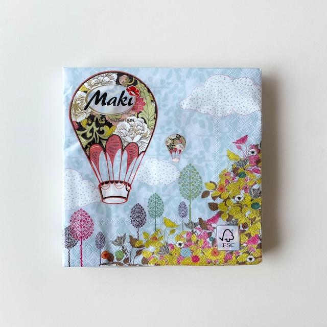【Maki】ランチサイズ ペーパーナプキン Flowers Balloon Ride ライトブルー 20枚入り