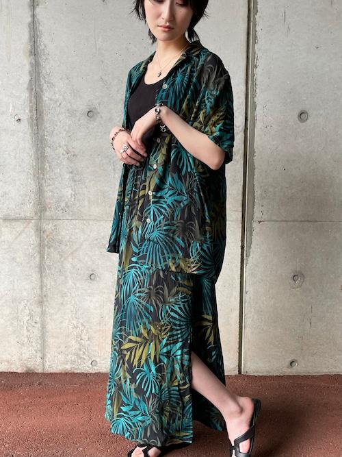 Vintage Botanical Pattern Silk Blouse & Skirt