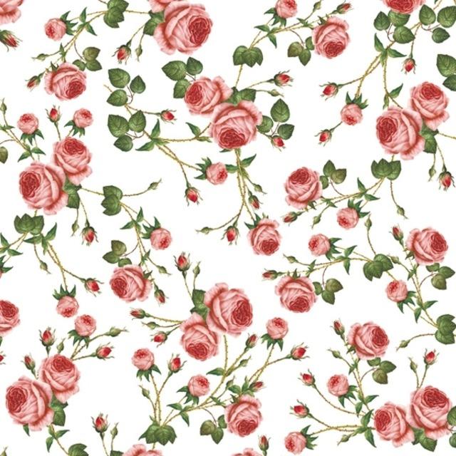 【Maki】バラ売り2枚 ランチサイズ ペーパーナプキン Small Roses ホワイト