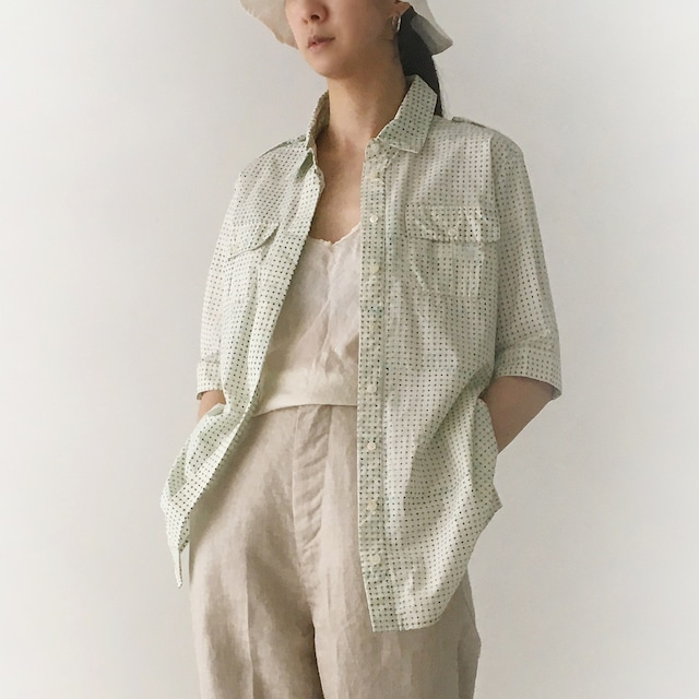 "Short sleeve  safari shirts ""block print geometric"" organic cotton"