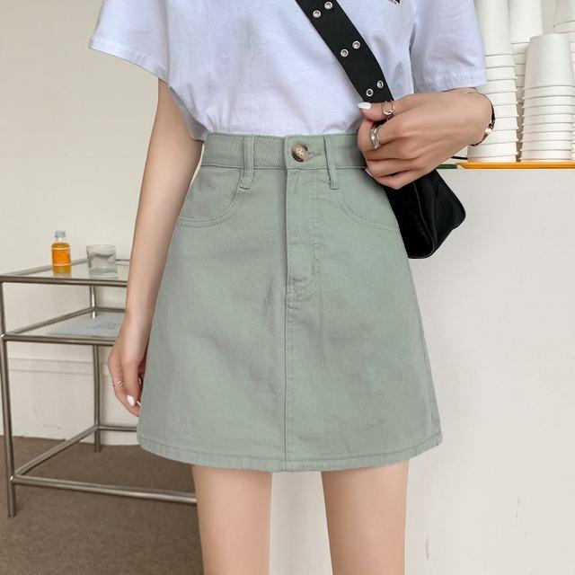 ミントグリーンショートデニムスカート YH8014