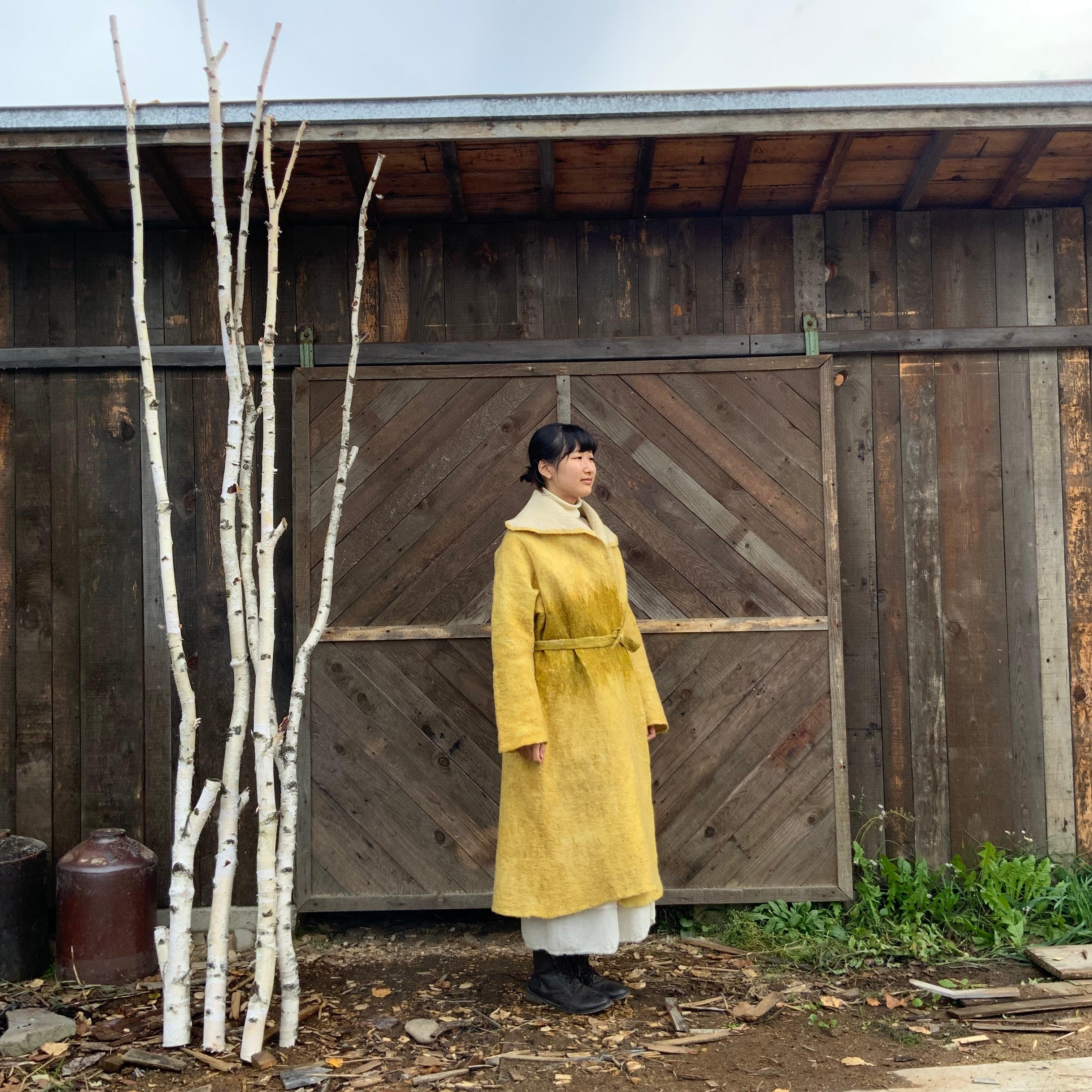 COLOR2-21002 ロングコート オブロングカラー 黃×緑