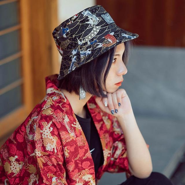 両面着れる帽子 3カラー選択 チャイナ風 棉 ブラック レッド ブルー 可愛い 合わせやすい レトロ