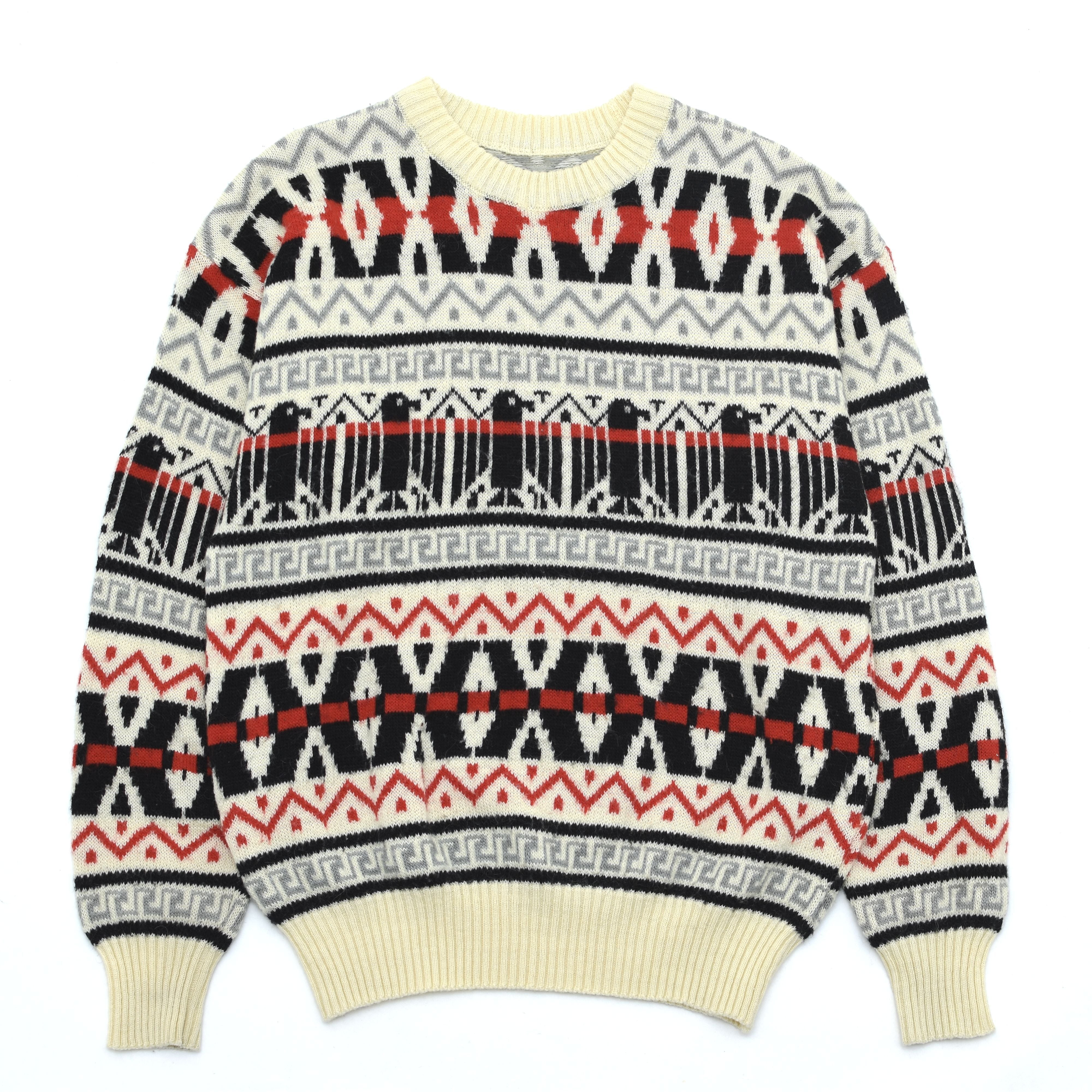 Native pattern wool pullover knit