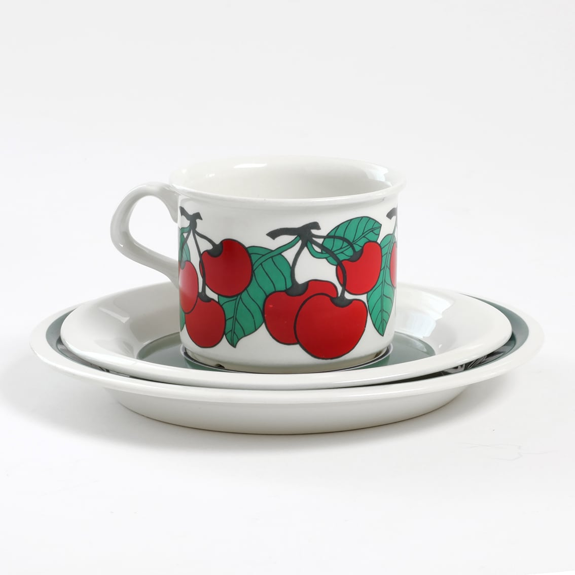 ARABIA アラビア Kirsikka キルシッカ コーヒーカップ&ソーサー、プレート三点セット - 8 北欧ヴィンテージ