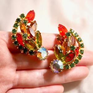 Multicolor Big clip-on earrings