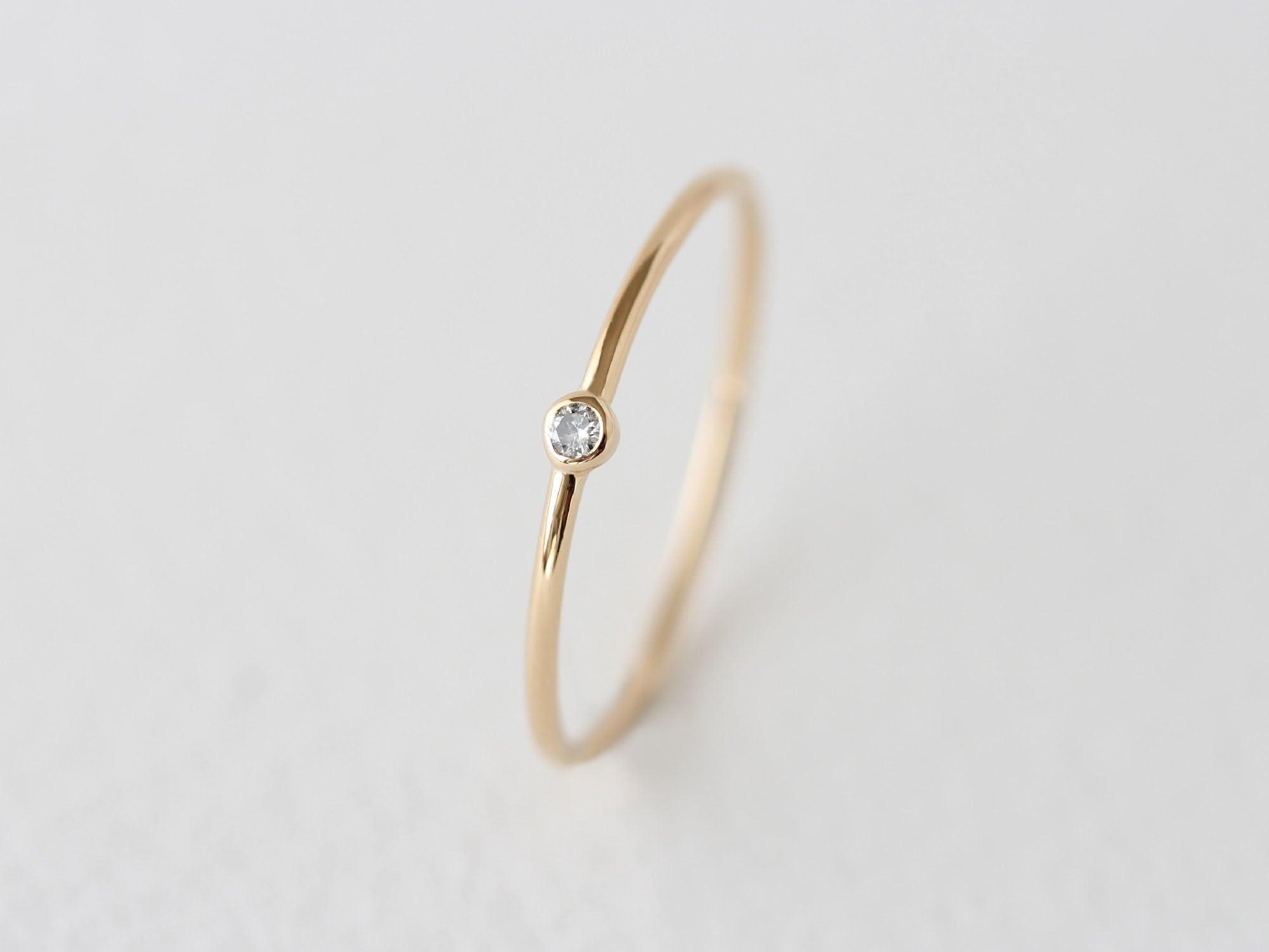 K18YG Diamond/1.8round grain ring