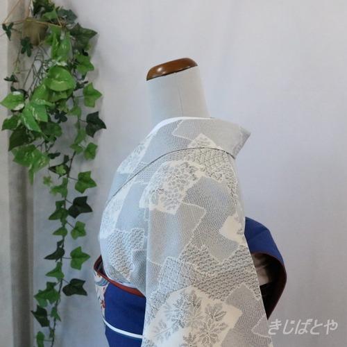 正絹紬 白銅色の檜垣の総柄小紋 袷