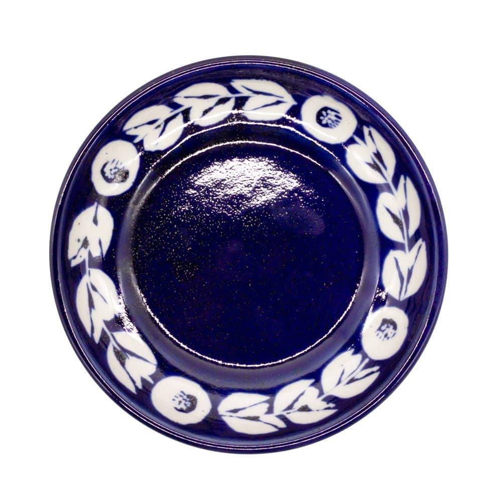 萬古焼 藍窯 スモールプレート 小皿 取り皿 直径約15cm 「カメリア」 白抜きネイビー AGM-200088