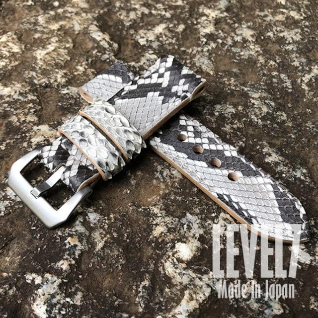 【ラグ幅:20MM/22MM/24MM/26MM対応】パネライスタイル 本革ダイヤモンドパイソン ナチュラル つや消し/マット レザーベルト スクリューバックル付き 腕時計 替えベルト SP-H002-PYNA LEVEL7