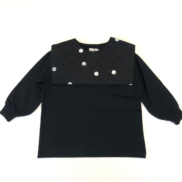 【21AW】フランキーグロウ ( frankygrow )REMOVABLE QUILTING SAILOR COLLAR L/S TEE[ F ]black-black*silver dots collar トップス ロンT