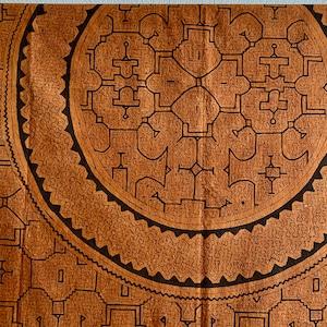 ベッドカバー34茶 超特大 240x150cm アマゾン シピボ族の泥染め マルチカバー テーブルクロス 間仕切りカーテン