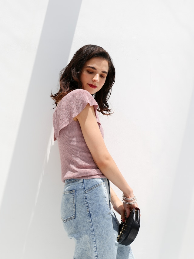 glitter frill knit(pink)