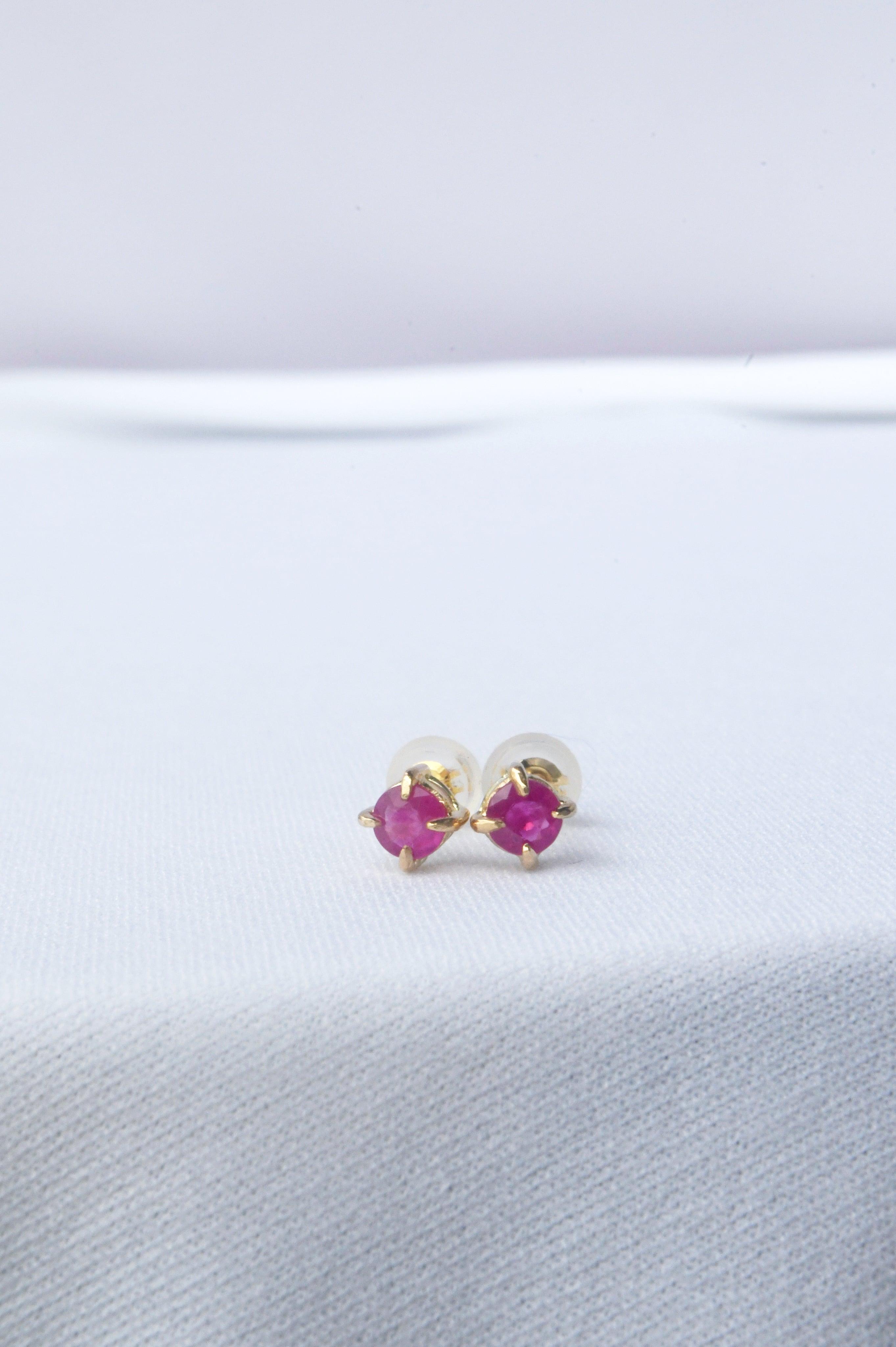 K18 Myanmar Ruby Studs Earrings 18金ミャンマー産ルビースタッズピアス