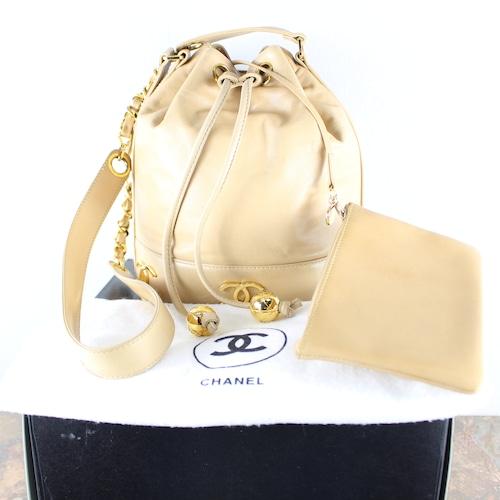 .CHANEL LAMB SKIN TRIPLE COCO MARC LEATHER DRAWSTRING SHOULDER BAG MADE IN ITALY/シャネルトリプルココマークレザー巾着ショルダーバッグ 2000000053677