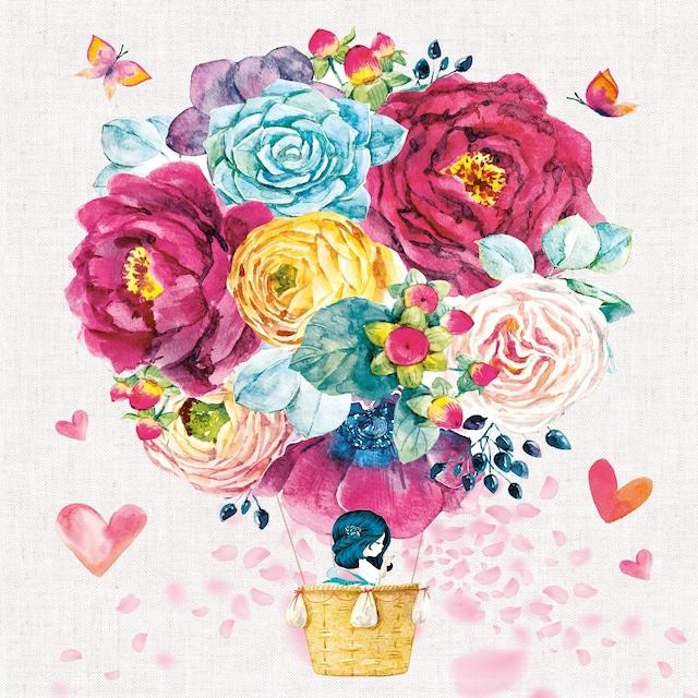 【Nouveau】バラ売り2枚 ランチサイズ ペーパーナプキン LOVE IS IN THE AIR ライトグレー