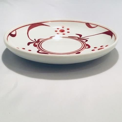 【砥部焼/梅山窯】6寸丸皿・切立(赤太陽)