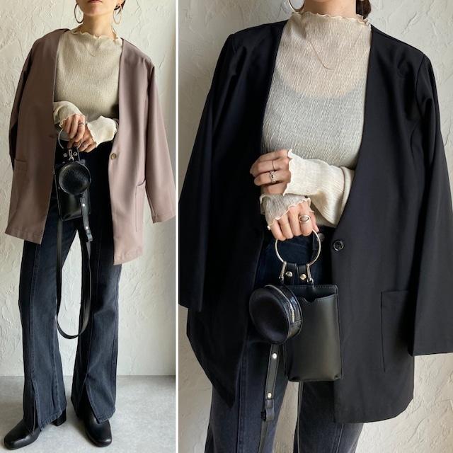 ◆即納◆ノーカラーテーラードジャケット OP-t236