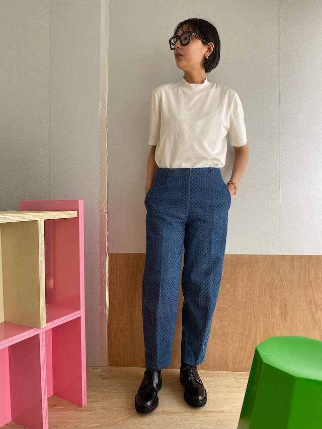 "High waist pants ""block print indigo"" cotton denim"