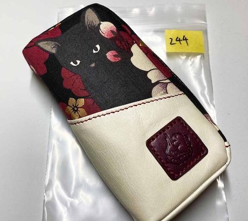 黒猫と革のL字ファスナーポーチ(赤x白) [244-pt]
