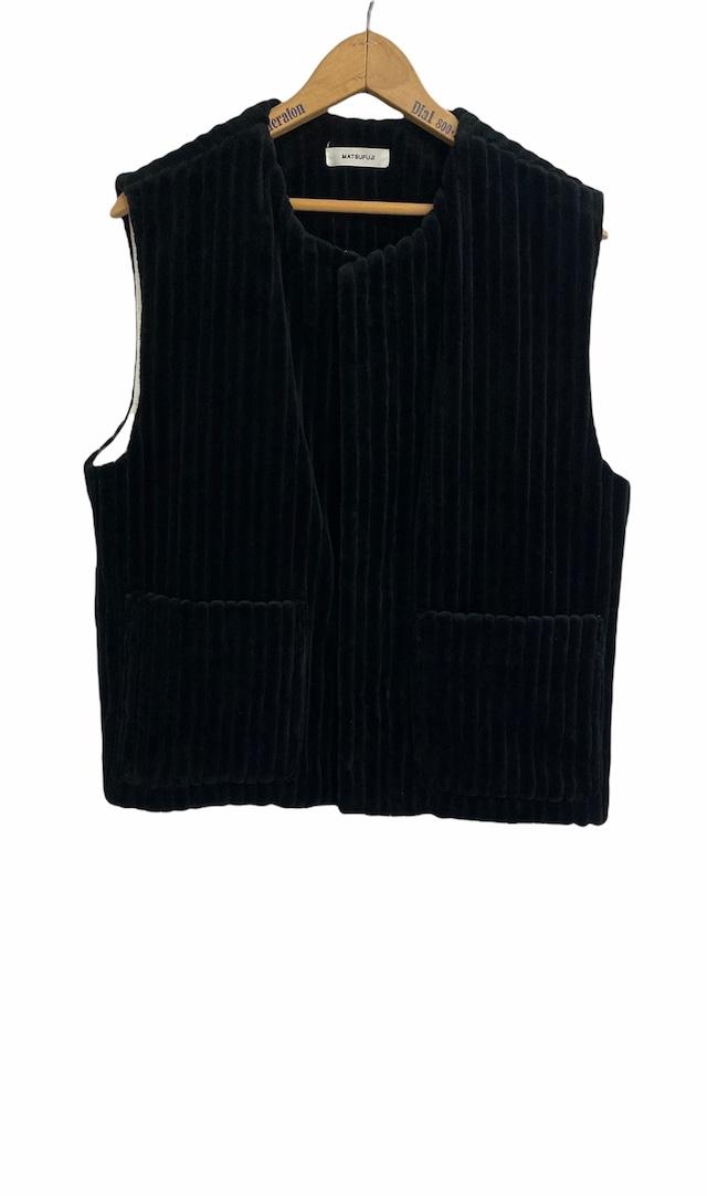 MATSUFUJI / Wide Corduroy Vest(BLACK)