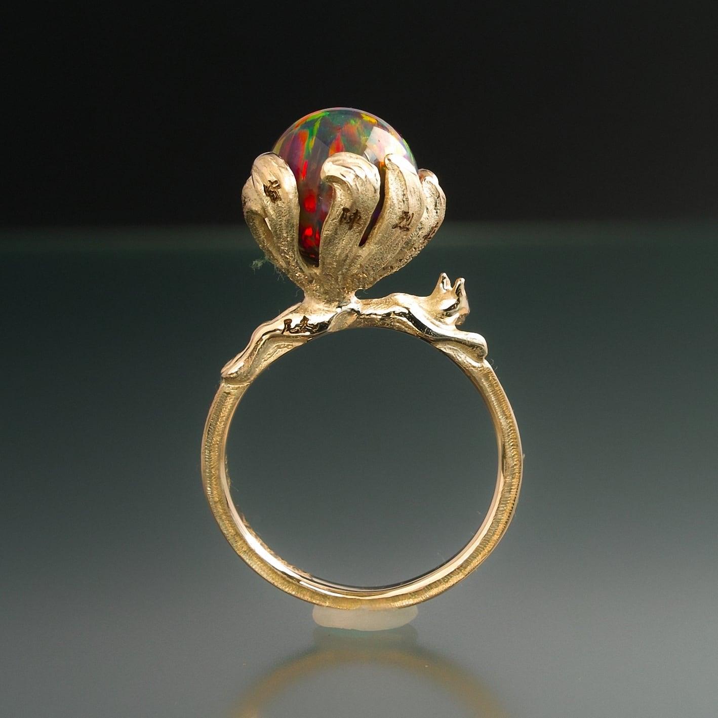 妖怪指輪 神獣 『 九尾の狐 』 10金イエローゴールド*京都オパール