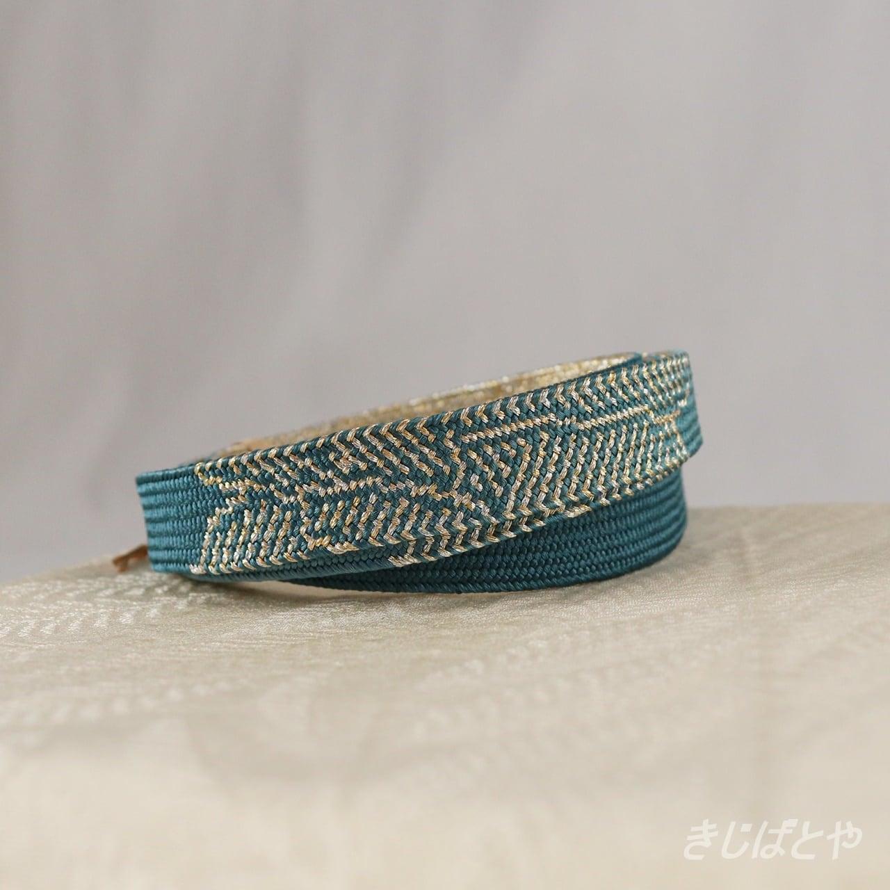 正絹 深藍の平組の帯締め