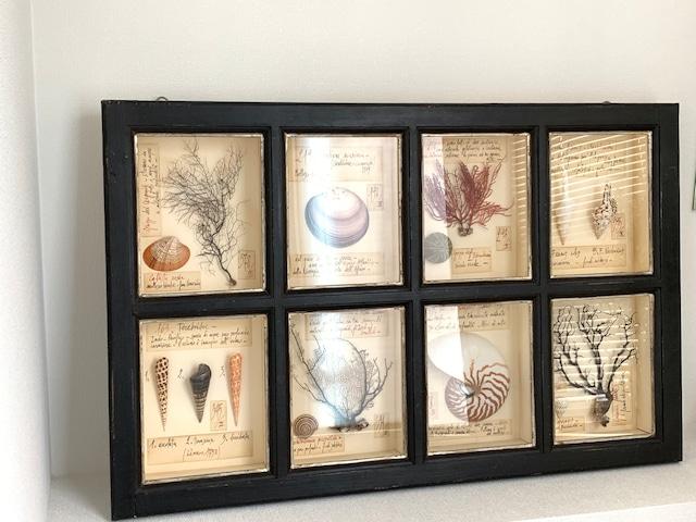 海の8種のウォールアート・ブラックフレーム