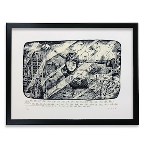 "NAZE screen print ""絵日記 no.01"" (with Frame)"