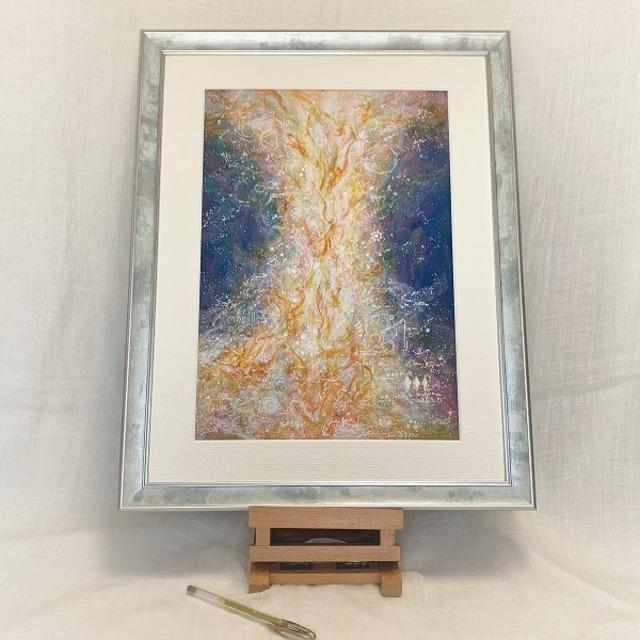 ヒカリの柱~Blue~ 原画 アクリル絵画 風水画