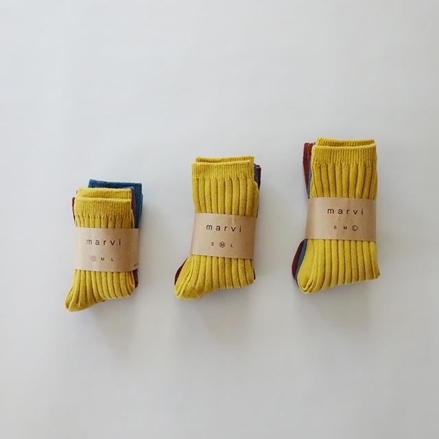 きちんとソックス 3足セット [mustard]