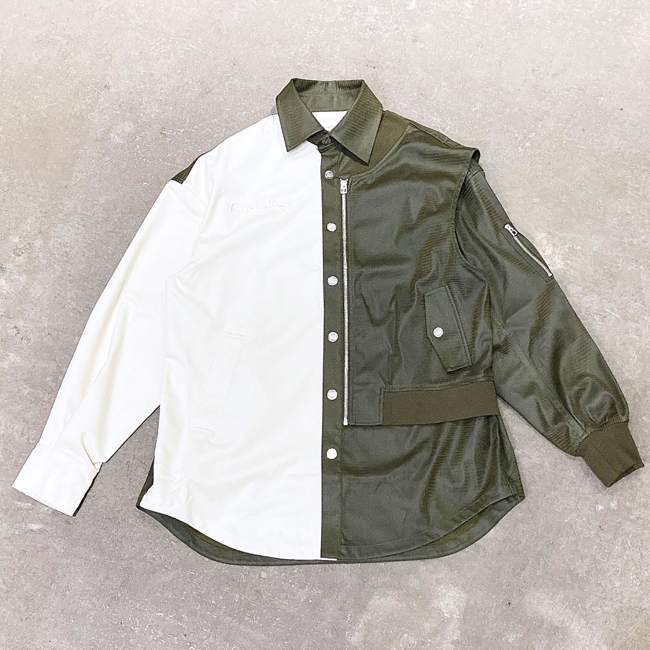 FENG CHEN WANG / CONTRAST COLOR SUEDE SHIRT