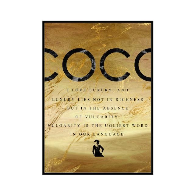 """COCO I LOVE LUXURY..."" Black&Gold marble - COCOシリーズ [SD-000598] A4サイズ ポスター単品"