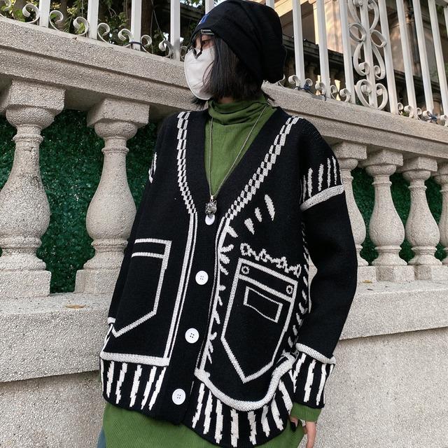 【都谷シリーズ】★カーディガン★ 2color 黒or白 アウター セーター 男女兼用 落書き ファッション