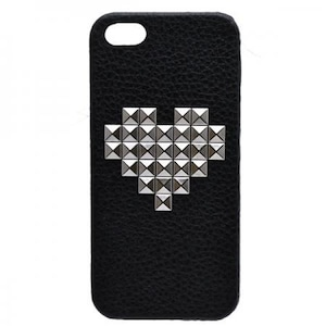 enchanted.LA HEART PATTERN STUDDED LEATHER COVER CASE #THE LOVE