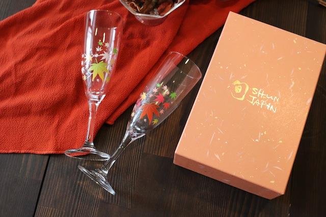 【cm-02s】『冷感紅葉』『シャンパングラス ペアセット』 *冷感 紅葉 シャンパン ペアセット 贈り物 記念日 温度で変化 不思議な マジック スパークリング 乾杯 ギフト プレゼント 秋 お祝い