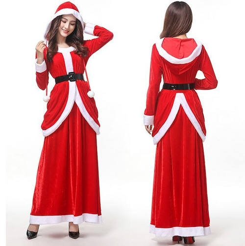 予約 コスプレ服 サンタクロース クリスマスパーティー Xma長袖 ロングスカート パーカー フード付き ドレス ロングワンピース 大人 コスプレ衣装 コスチューム ハロウィン 秋 冬 レディース 女性用 かわいい ふわふわ サンタコス サンタコスチューム クリスマス衣装 ch1011