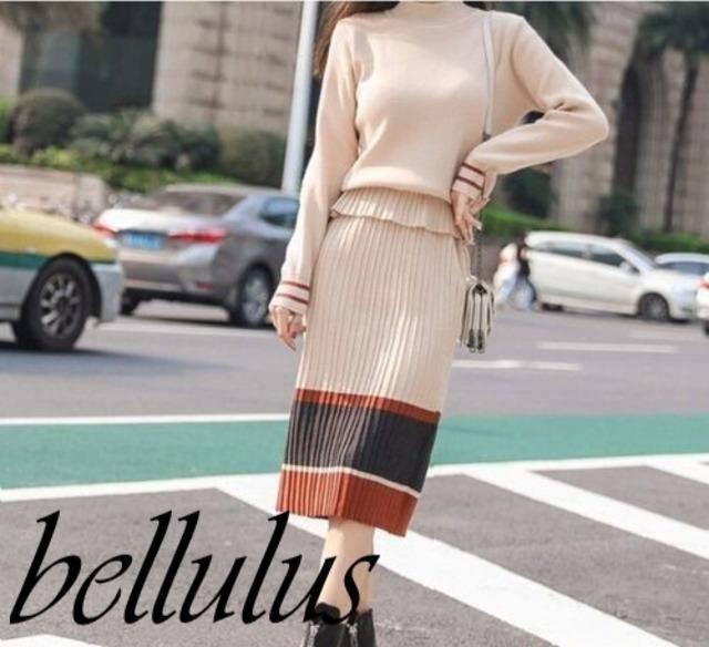 ペプラムニットラインスカートセット カジュアル  3パターン