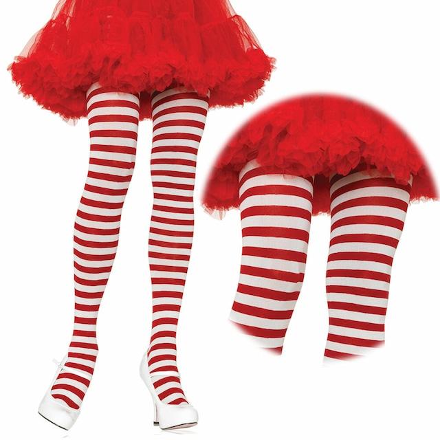 クリスマスハロウィンにぴったり♪パンティストッキング白 赤 ボーダーパンティストッキング LA7100WR