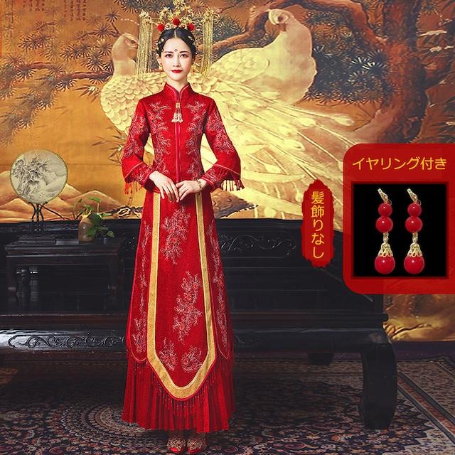 チャイナ風ウエディングドレス 中華服 結婚式 XS~4L レッド 赤い 刺繍 フリンジ サテン 花柄