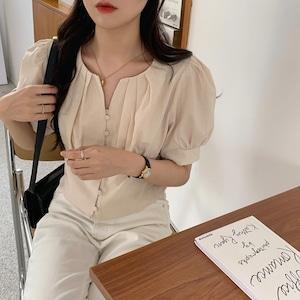 デザインプリーツショートシャツ U5827