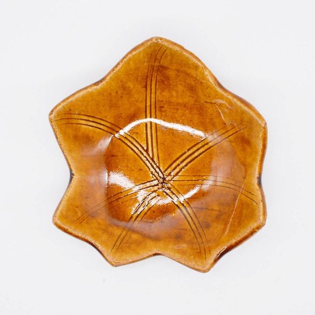 【限定1点 アウトレット品】美濃焼 木の葉 取皿 アメ釉 253165 豆豆市084