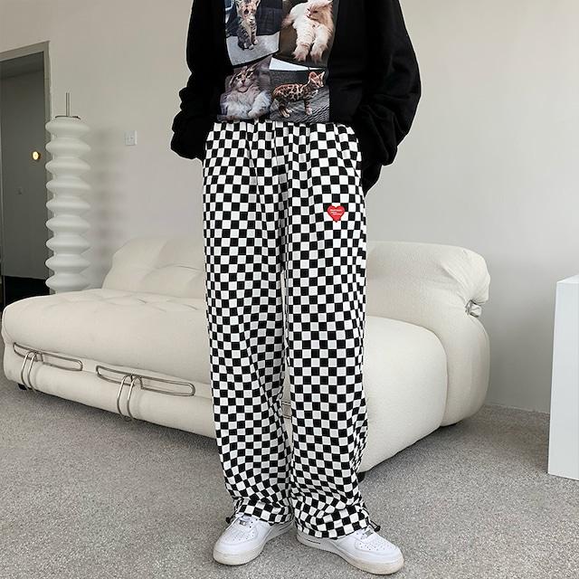 【ボトムス】ファッションルーズスポーツチェック柄カジュアルパンツ52675177