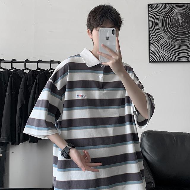 ツーラインストライプポロシャツ