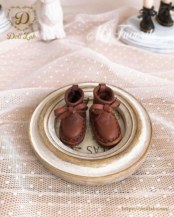 リボン革ブーツ [Eve / ブライス サイズ] チョコブラウン D2008-BRN-30