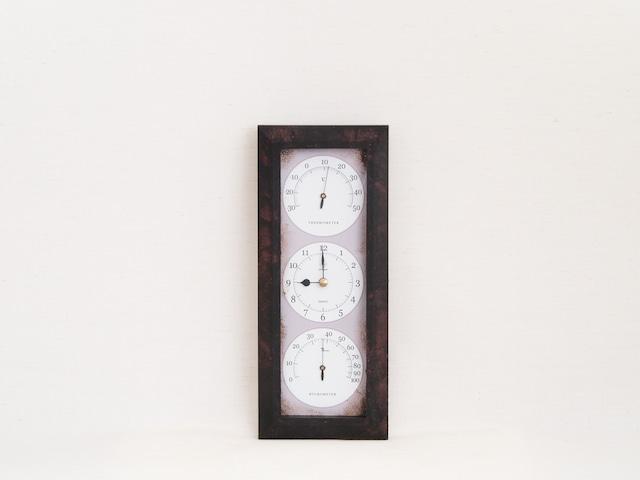 HAKARU ハカル / 温湿度計 時計 Antique Clock アンティーククロック 縦型 壁掛け アイアン YT-903