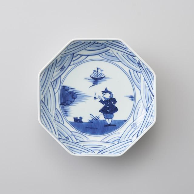 """【青花】""""長崎紋"""" 正八角6寸皿"""