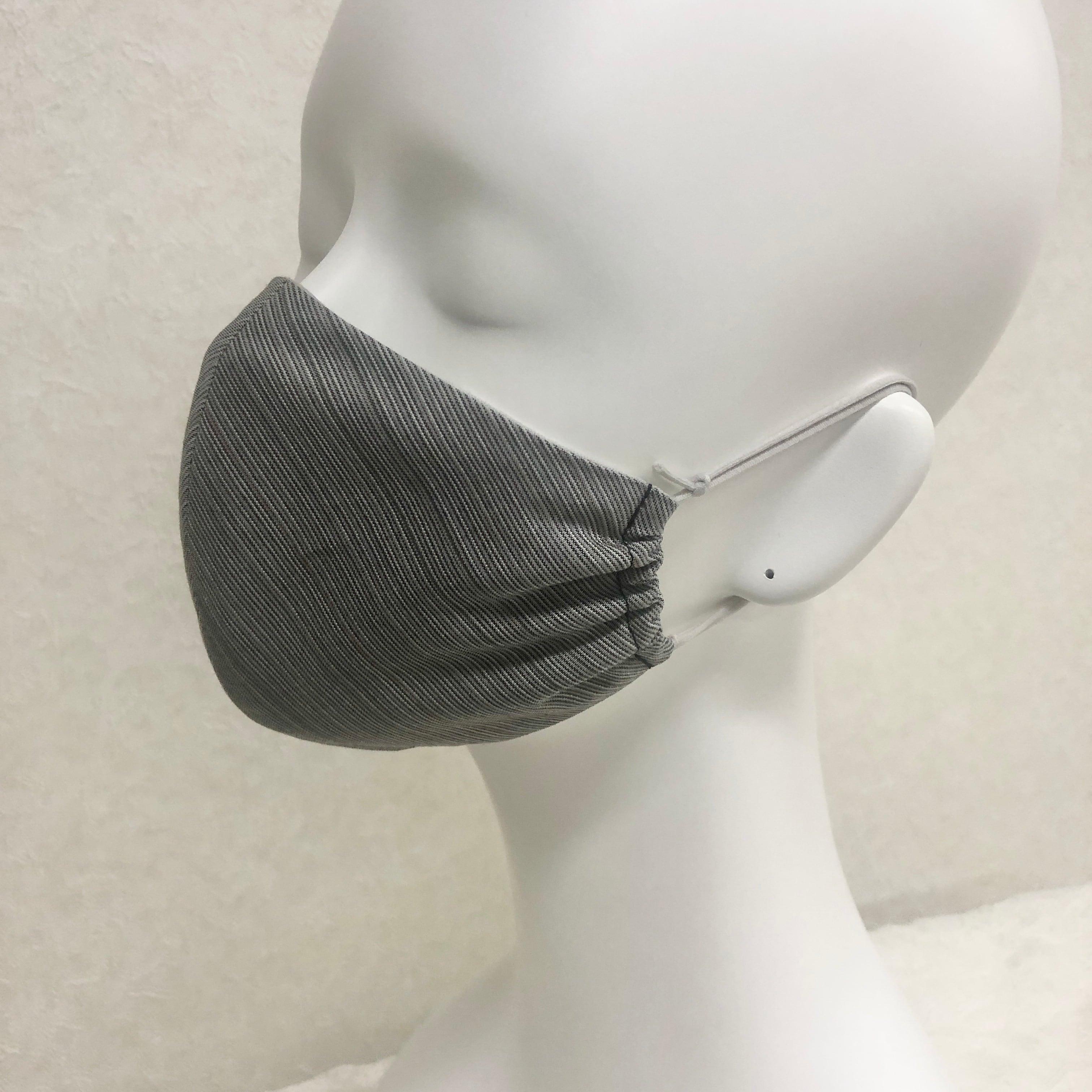 お洒落モダンマスク[日本製]*耳が痛くならない!限定マスク留め付き/高級綿生地/織物
