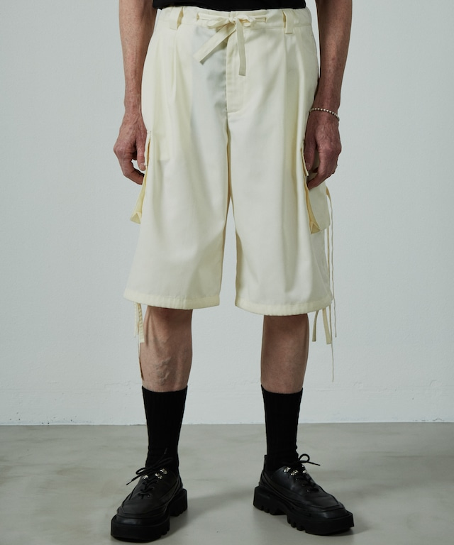 UNSELDS  broad wide cargo shorts yellow White
