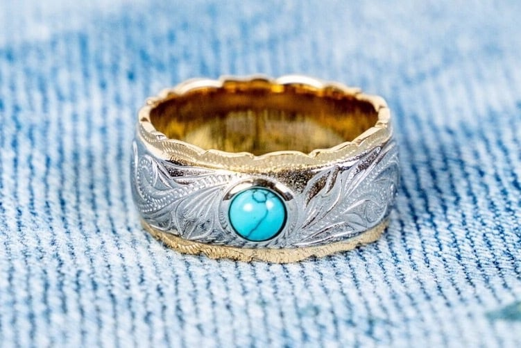 【316L Hawaiian turquoise ring】